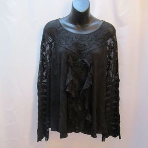 Free People Lace Long Sleeve Peasant Style Top
